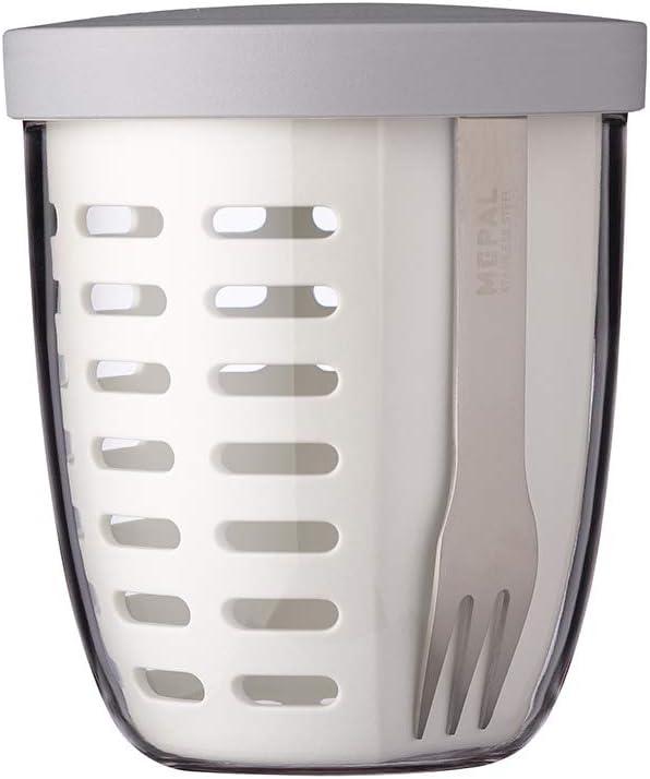 MEPAL Ellipse - Bote para fruta y verdura con colador y tenedor.  Color Blanco