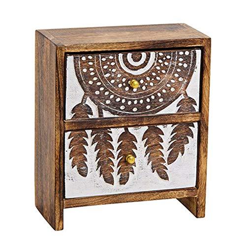 ToCi Boîte à bijoux en bois de manguier - Organiseur de bureau - Boîte de rangement - Attrape-rêves