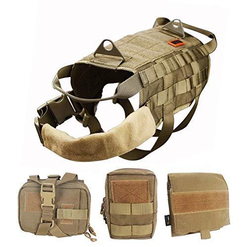 OneTigris Taktisch Hundeausbildung MOLLE Weste Geschirr Hundegeschirr mit einfach abnehmbare Dienstprogramm Kletttasche Zubehörtasche (Khaki, L)