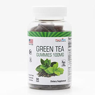 Green Tea & Peppermint Gummies 100mg - Gluten Free, Sugar Free, Antioxidant/Mineral Rich Snack - 90 Count