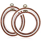 Caydo 4 Pieces Embroidery Hoops Cross Stitch Hoop Imitated Wood Embroidery Circle and Oval Set for Art Craft Sewing and Hanging