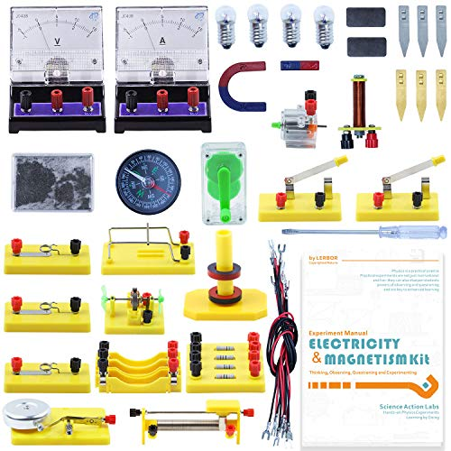 Teenii STEM Physics Science Lab Basic Circuit Learning Starter Kit Electricity and Magnetism Experiment for Kids Junior Senior High School Students Electromagnetism Elementary Electronics LERBOR