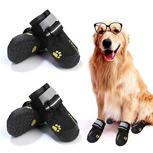 4PCS Dog Shoes, Waterproof Dog Boots with Rugged Anti-Slip Sole, Dog Booties with Adjustable Reflective Velcro Straps, Outdoor Dog Paw Protection Rain/Snow Boots for Medium/Large Dogs (5#, Black)