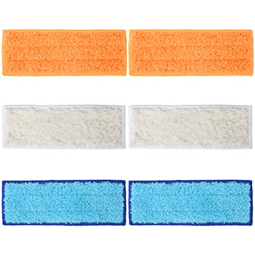 Wolfish 6 Packs Washable Mopping Pads for iRobot Braava Jet 240 241 (2 Wet Mopping Pads, 2 Damp Sweeping Pads and 2 Dry Sweeping Pads)