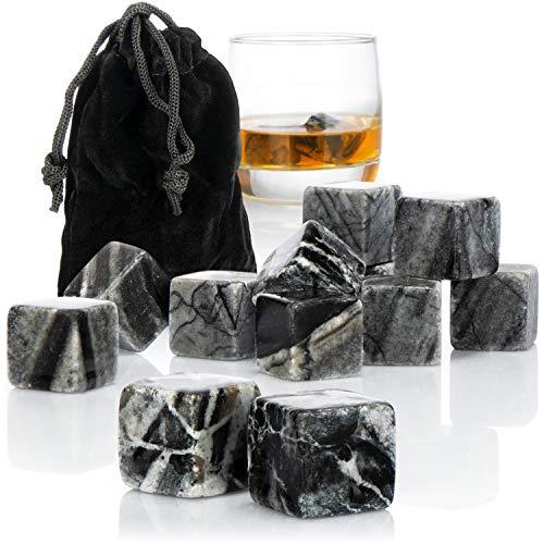 com-four® 12x Whisky Steine in Marmoroptik - Kühlsteine für Whiskey mit Aufbewahrungsbeutel aus Stoff - kein Verwässern mehr (Marmoroptik grau - 12 Stück)