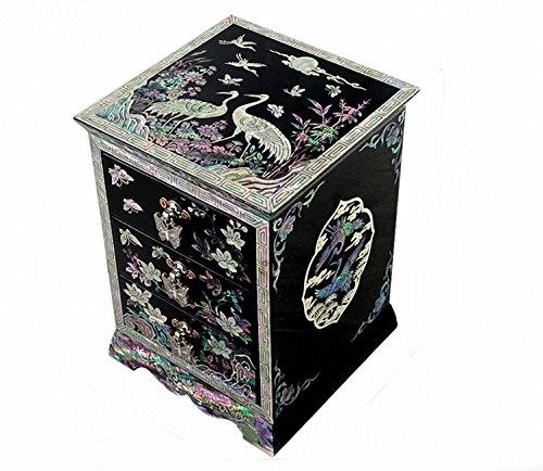 Joyero con Madreperla Púrpura Asiático para Mujer Madera Lacrada Bisutería Cofre de Regalos y Tesoros Anillos Collares Caja Organizador con Diseño de Flores y Grullas
