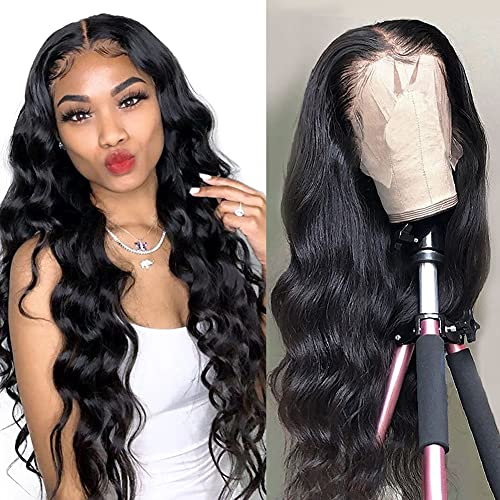 LAPONDAI Lace Front Wigs Human Hair Body Wave, 13x4 Lace Frontal Wig Pre Plucked with Baby Hair, 100% Human Hair Wigs for Black Women 150% Denisty Brazilian Real Hair Natural Color (Body Wave 18Inch)
