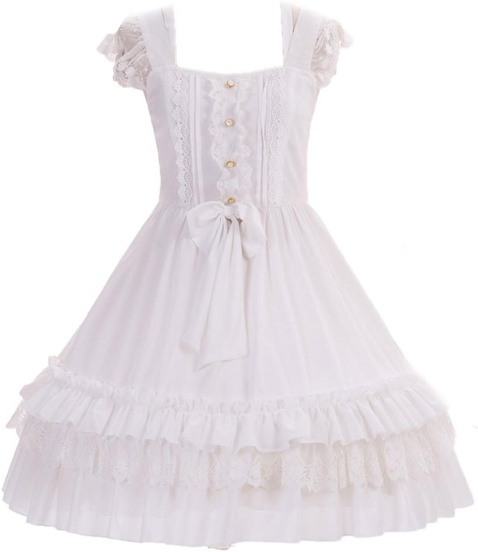 BLESSI Women Princess Strap Bow Layered Sleeveless Knee Length Dress Slim White Summer High Waist