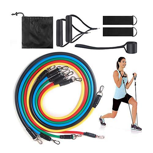 MIAOPAI Muskeltrainingsgürtel 11-teiliges Tragezugseil Elastisches Seil Krafttrainingsset Multifunktionale Zugausrüstung