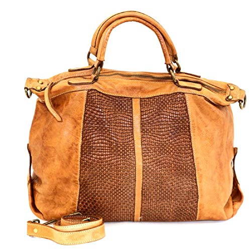 BZNA Bag Emely cognac Italy Designer Damen Ledertasche Handtasche Schultertasche Tasche Leder Beutel Neu