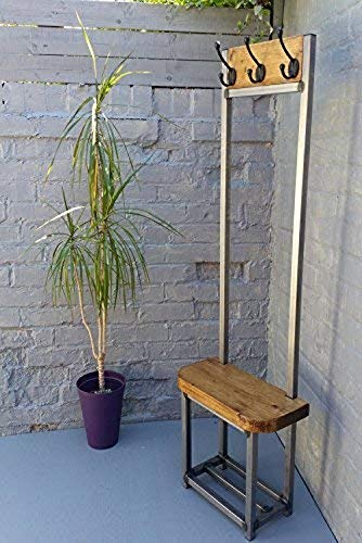 AOIWE Coat stand narrow hallway coat rack bench seat and shoe storage ideal for porch industrial chic