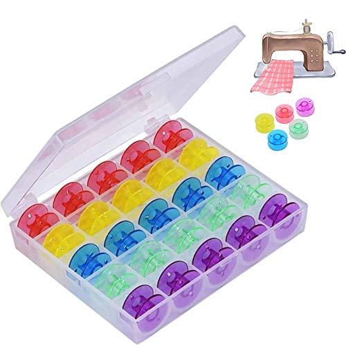 bobinas de plástico,25 piezas Bobinas de plástico para máquina de coser multifunción,con Caja de Almacenamiento,para la Mayoría de Máquinas de Coser Estándar Domésticas
