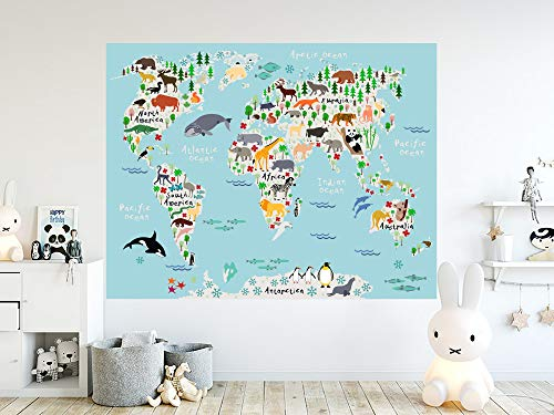 World Map Wall Decals. Countries of the World Map Vinyl stickers. World Map Mural. Animals Map Nursery Bedroom Decor. Peel and stick PS100 Easy to Apply and Removable Easy to Apply and Removable