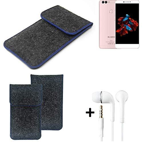 K-S-Trade Filz Schutz Hülle Für Bluboo Dual Schutzhülle Filztasche Pouch Tasche Handyhülle Filzhülle Dunkelgrau, Blauer Rand Rand + Kopfhörer