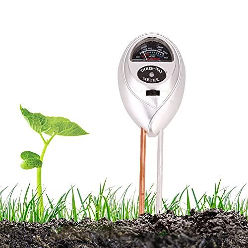Vegena Boden Feuchtigkeit Meter, Bodentester 3-in-1 Pflanze Tester Boden-pH Feuchte Lichtstärke Meter Pflanze Tester für Garten, Bauernhof, Rasen Kein Batterien Erforderlich (Nur für Landen)