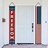 AVOIN Patriotic Decoration Stars and Stripes Porch Sign Let Freedom Ring, 4th of July Memorial Day Independence Day Hanging Banner Flag for Yard Indoor Outdoor Party 12 x 72 Inch