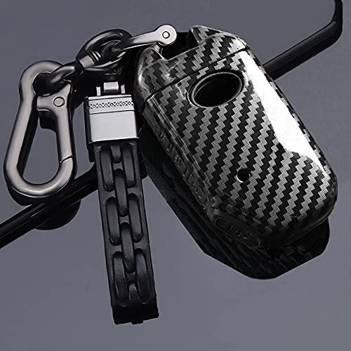 ontto Funda para llave de coche Kia Ceed Cerato Forte NIRO Seltos Sorento Soul Sportage Stinger mando a distancia de plástico llavero llavero funda de fibra de carbono negro