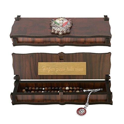 Gök-Türk Box Schatulle MIT Gravur aus Holz Handgemacht & Tesbih Gebetskette 'Wappen Osmanisches Reich' Tugra Abdulhamid 33 Perlen, ColorName:mit Gravur