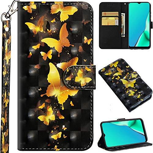 C/N DodoBuy Hülle für Motorola Moto G8 Power, 3D Flip PU Leder Schutzhülle Handy Tasche Wallet Hülle Cover Ständer mit Trageschlaufe Magnetverschluss - Gold Schmetterling