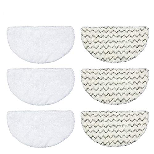 Steam Mop Replacement Pads Vacmop Pad for Bissell Powerfresh Steam Mop 1940 1806 1440 1544 Series 19402 19404 19408 19409 194040q 1940t 1940a 1940f 1940WM b0006 b0017 Washable floor Steamer Pads 6PCS