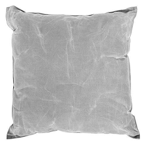 Rivanto® Gewachster Canvas Kissen, Schlafkissen, Reisekissen, Gartenkissen, Sitzkissen, Bezug aus Leinen, grau
