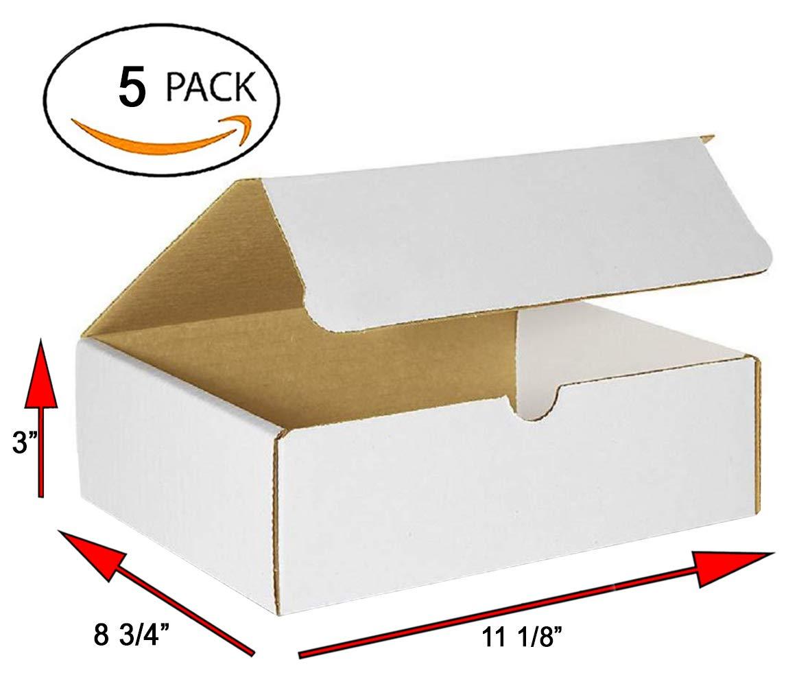 Amiff - Mailers de cartón corrugado (11,125 x 8,75 x 3 cm, 11 1/8 x 8 3/4 x 3) Paquete de 5 cajas de correos. Fácil de plegar. Para materiales impresos y