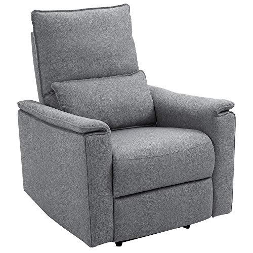 HOMCOM Relaxsessel Liegesessel TV Sessel Einzelsofa 150° neigbar Fernsehsessel Polyester Grau 83 x 90 x 104 cm
