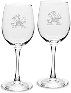 NCAA Notre Dame Fighting Irish Adult Set of 2 - 12 oz White Wine Glasses Deep Etch Engraved, One Size, Clear