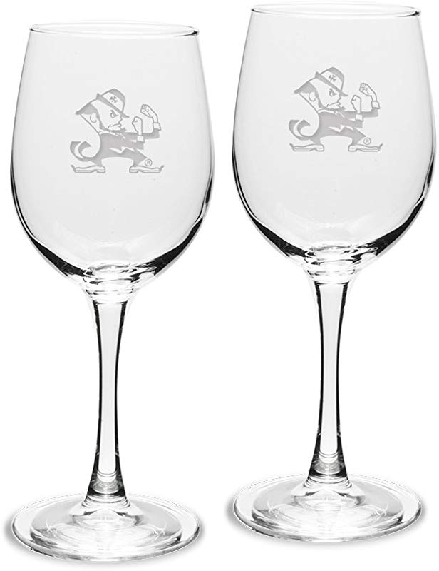 NCAA Notre Dame Fighting Irish Adult Set Of 2 12 Oz White Wine Glasses Deep Etch Engraved One Size Clear