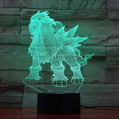 3D-Illusionslampe Führte Nachtlicht Pokemon Entei Figur Kinderbett Bunte Atmosphäre Kinder Weihnachtsgeschenk Entei