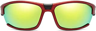 Durable Outdoor Sports Riding Metal Sunglasses Colorful Red/White Men and Women with Polarized Sandblasted Sunglasses (Color : Red)