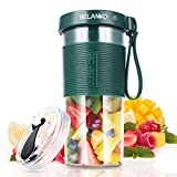 Portable Blender, BELANKO Personal Size Blender for Juice, Shakes and Smoothies, Food Grade Juicer Travel Blender Cup 11/20oz 60W with USB Rechargeable for Home, Sport, Office, Outdoors - Dark Green