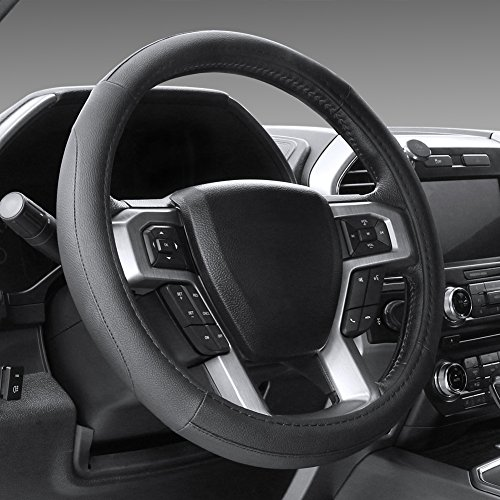 "SEG Direct Black Microfiber Leather Steering Wheel Cover for F-150 Tundra Range Rover 15.5"" - 16"""
