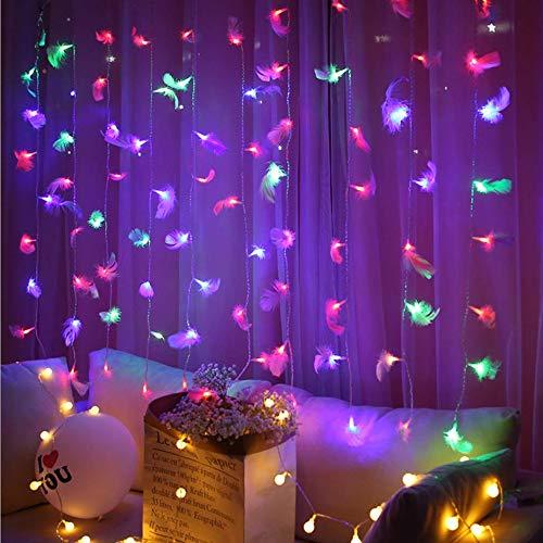 Cortina de plumas, luz de cadena interior, cadena de luz de estrella LED, luces LED de cuento de hadas, luces de red LED, luces de hadas de luciérnaga led, luces de cortina