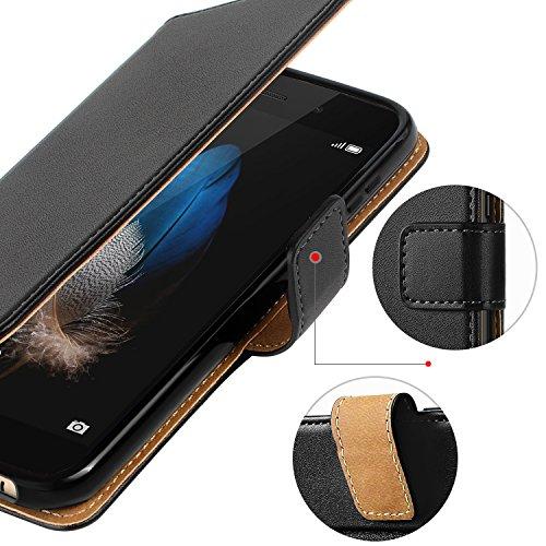 HOOMIL Handyhülle für Huawei P8 Lite Hülle, Premium PU Leder Flip Schutzhülle für Huawei P8 Lite Tasche, Schwarz - 5