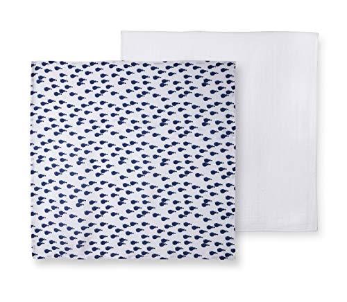 Catimini Lot de 2 Langes bébé Créative côtier, Bleu/Blanc, 90x90 cm