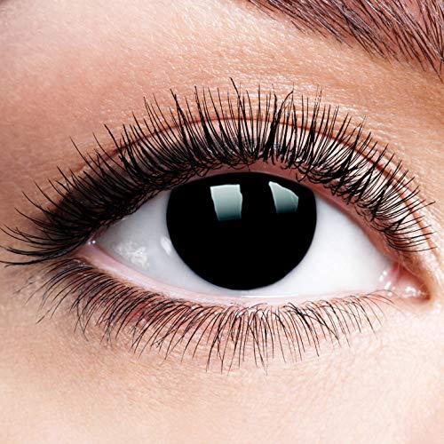Farbige Kontaktlinsen mit Stärke Blackout Ganz Schwarz Linsen Halloween Karneval Fasching Cosplay Anime Manga Schwarze Augen Black Out Blind Eye Zombie -2,5 dpt