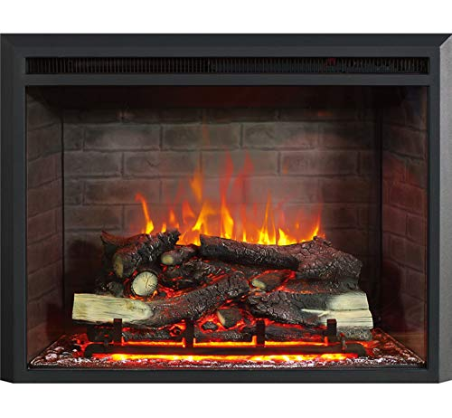 RICHFLAME Gavin 33 Inches Electric Fireplace Insert with Log Speaker, Designed for Stud, Wood Burning Opening, Cabinet & Wood Mantel, Remote Control, 750/1500W, Black