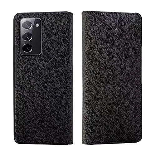 Kompatibel mit Samsung Galaxy Z Fold 2-5G Smartphone Hülle(2020)+3D Panzerglas/Premium Leder Flip Schutzhülle Ultra Dünn Brieftasche Hülle Standfunktion Handyhülle für Samsung Galaxy Z Fold 2-Schwarz