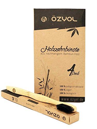 Bamboe tandenborstel met puur bamboehout ✮ 4-pack veganistisch ✮ biologisch afbreekbaar ✮ 100% vrij van BPA ✮ borstelharen met bamboe houtskool voor de beste schoonheid.