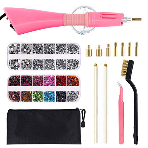 Hotfix Applicator, DIY Hot Fix Rhinestone Applicator Wand Setter Tool Kit with 7 Different Sizes Tips, Tweezers & Brush Cleaning kit and 2 Pack Hot-Fix Crystal Rhinestones