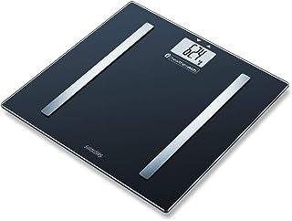 Sanitas SBF 72 - Báscula de diagnóstico con Bluetooth para medir el peso corporal, grasa, agua, masa muscular, calorías quemadas, IMC, aplicación de larga duración