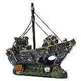XFC-Rockery, Decoración de acuarios barco barco vista acuario rocoso escondite cueva árbol naufragio de náutico Adorno de peces Decoración (Color : B, tamaño : 14.5cmX5.5cmX12cm)