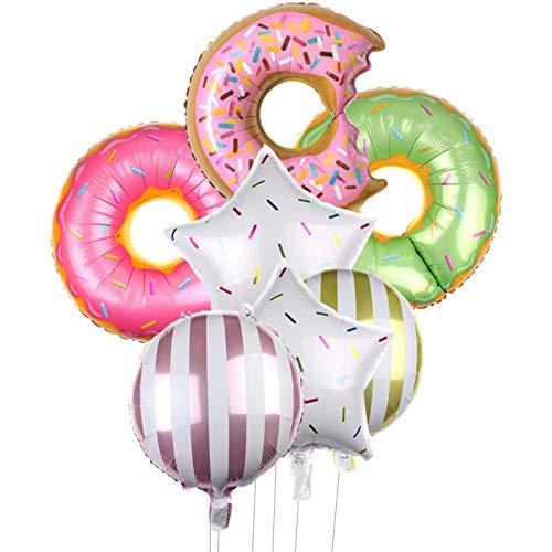 DIWULI, Luftballons 7 Teile Set, 3X Donut-Ballon bunt + 2X Stern-Ballon + 2X Folien-Ballon, Geburtstagsballons, Folienluftballon, Geburtstag, Junge Mädchen Kindergeburtstag, Motto-Party, Dekoration