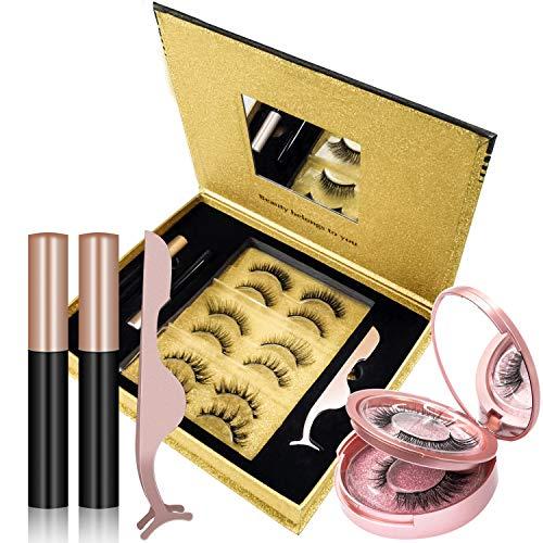 J TOHLO (8 paires) Cils magnétiques réutilisables et 2 paquets Eyeliner magnétique durable et imperméable, Fau cils magnétique artificiels multi styles 3D sans colle kit de cils cils magnétiques