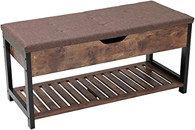 USIKEY Storage Bench, End of Bed Bench with Storage Shelf, Storage Benches with Seating, for Entryway, Living Room, Easy Asse