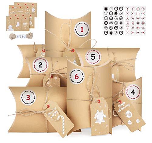 Homewit Adventskalender zum Befüllen mit Kraftpapier Anhänger, 24 Adventskalender Kraftpapier Tüten mit 2 Stile 1-24 Zahlenaufklebern zum Weihnachts-Geschenktüte zum DIY
