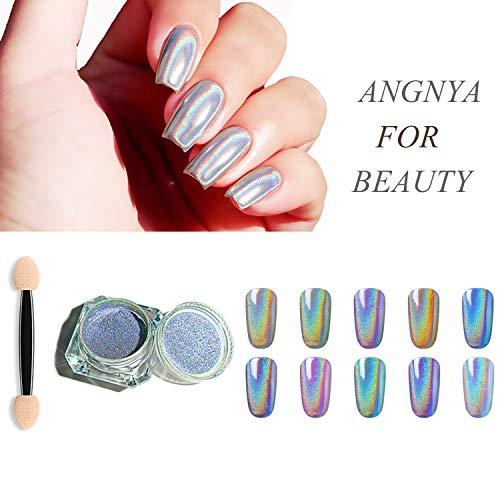 Holographische Nagel Pulver Laser Glitter Regenbogen Chrom glatte Maniküre Pigment glänzende Nail Art mit 1 Schwamm Kits 1g / Box