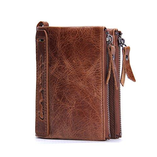 Herren Echtes Leder-Bifold Wallet Doppelreißverschlusstasche Geldbörse Braun