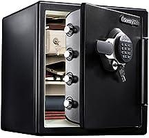 SENTRY 1小时耐火防水保险柜 33.6L A4文件夹 数字键式 双锁 带2个钥匙 黑色